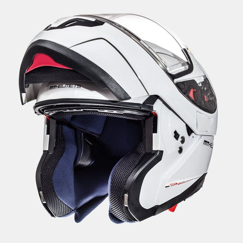 MT Atom SV Flip-Up Motorcycle Helmet Gloss Pearl White