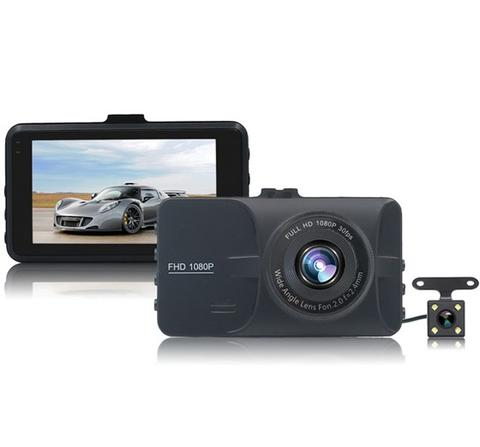 Dual Car Dashcam with Night Vision and 3 Inch LCD Screen