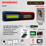 Rechargeable LED Work Light with LED Flashlight and Magnetic Base