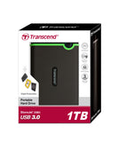 Твърд диск Transcend StoreJet 25M3 USB 3.0 2.5 1TB (SATA) Rubber Case Anti-Shock Iron Gray