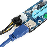 Riser Mining Adapter Card PCIe 1x to PCIe 16x (6-pin PCIe or SATA power) with 60cm USB cable