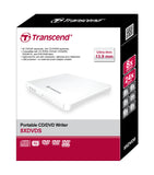 Оптично устройство Transcend 8X Portable DVD Writer, Extra Slim Type USB, 13.9mm thick, White