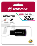 Флаш памет Transcend 32GB JetFlash 360 Hi-Speed USB 2.0, read-write: up to 16MBs, 6MBs, Purple