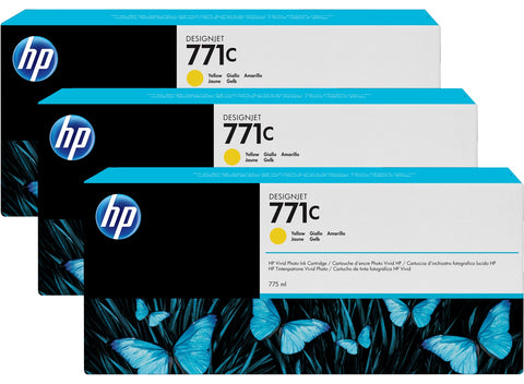 Консуматив HP 771C 3-pack Original Ink Cartridge; Yellow;  ; HP DesignJet Z6200
