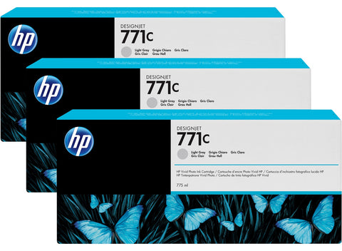 Консуматив HP 771C 3-pack Original Ink Cartridge; Light Grey;  ; HP DesignJet Z6200
