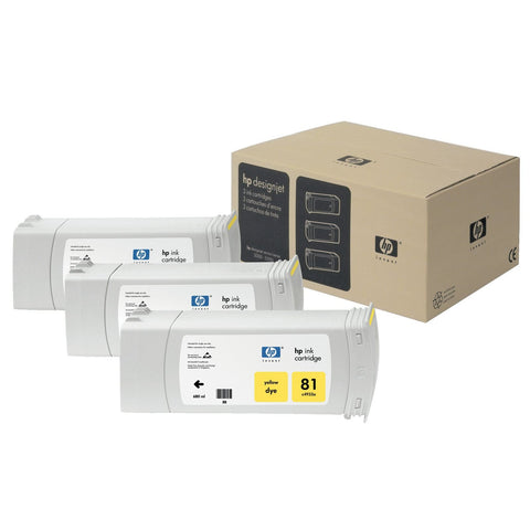 Консуматив HP 81 3 - Pack Original Ink Cartridge; Yellow 680 ml;  ; HP Designjet 5000; 5500