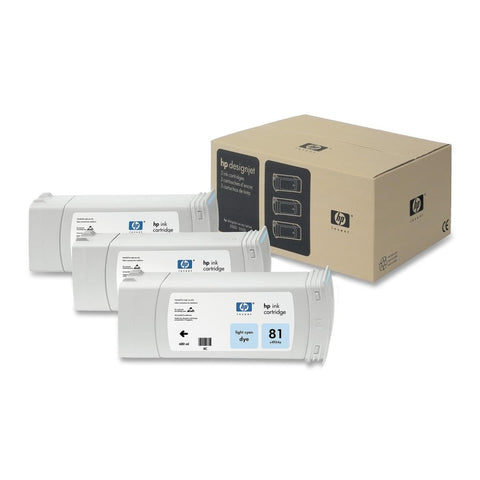 Консуматив HP 81 3 - Pack Original Ink Cartridge; Light Cyan;  ; HP Designjet 5000; 5500