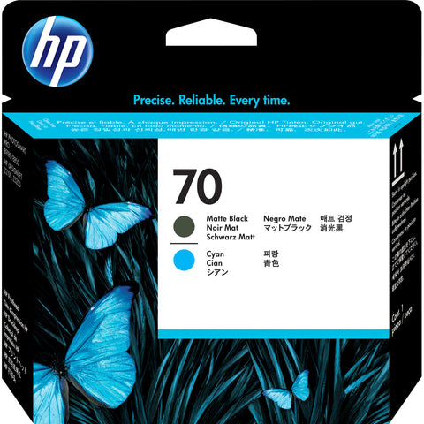 Консуматив HP 70 Standard 1-Pack Original Ink Cartridge; Matte Black + Cyan;  ; HP DesignJet Z2100, Z5200, Z5400