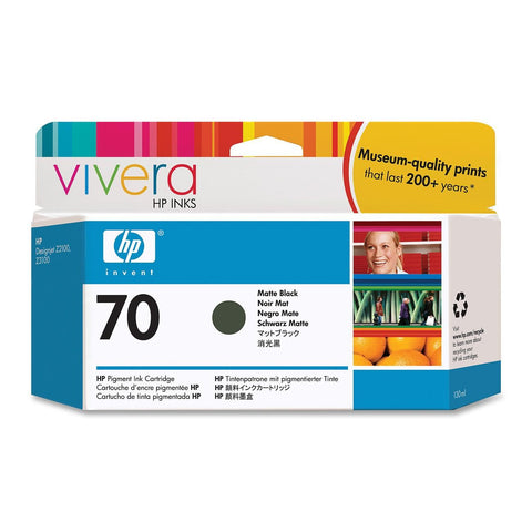 Консуматив HP 70 Standard 1-Pack Original Ink Cartridge; Matte Black 130 ml;  ; HP DesignJet Z2100, Z3100, Z3200, Z5200, Z5400