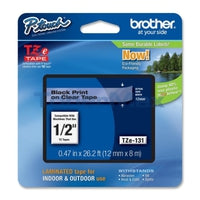 TZ Tape BROTHER 12mm Black on Clear, Laminated, 8m lenght, for P-Touch