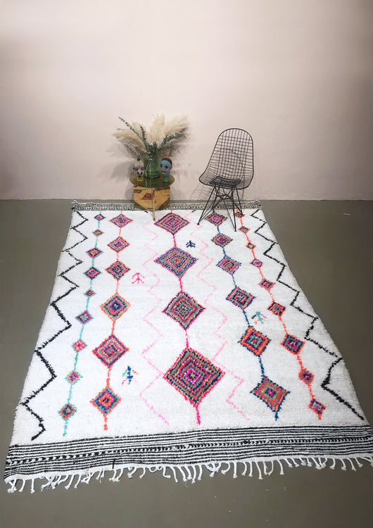 Modern designer handcrafted Berber rug  from morocco Azilal with beautiful colors and patterns