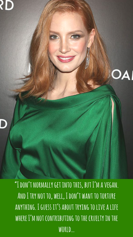 Jessica chastain Vegan quote