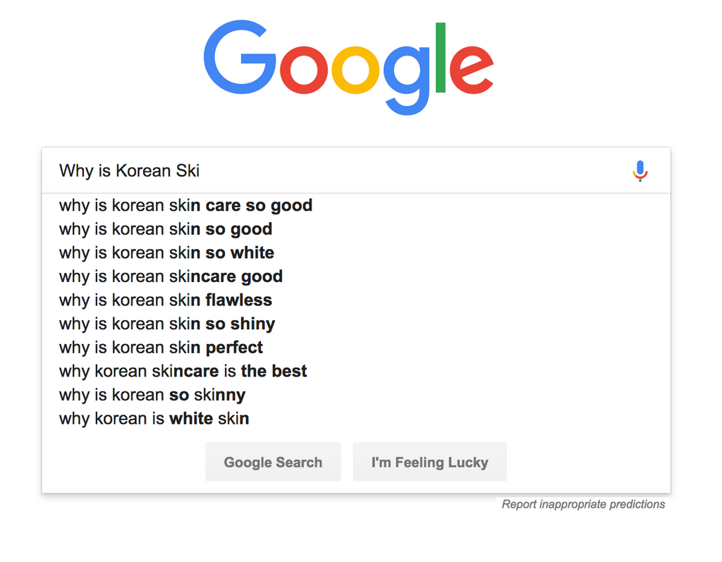 google search korean skincare