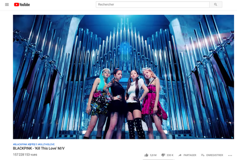 black pink youtube record kill this love video