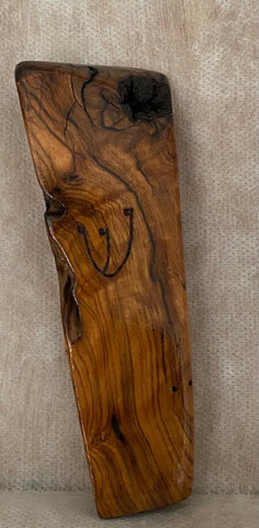 Ancient Olive Wood Mezuzah Case With Etched Shin
