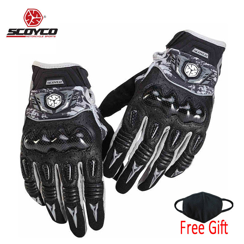 Short Summer Real Leather Motorbike Gloves Knuckle Shell Protection