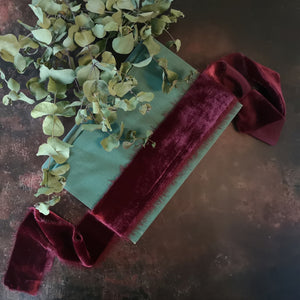 BURGUNDY SILK VELVET RIBBON