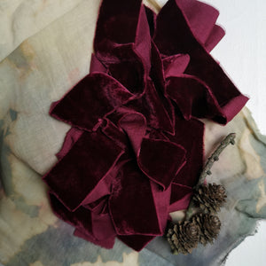 DEEP RASPBERRY BERRY SILK VELVET RIBBON