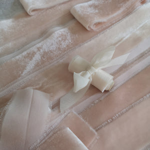 PALE BLUSH SILK VELVET RIBBON