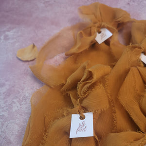 MUSTARD CRUSHED SHEER SILK RIBBON