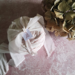 PALE BLUSH RUSTIC SILK RIBBON BUNDLE