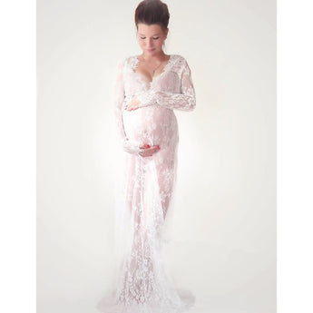Exclusive Maternity Gown Lace Dress - Evening Gown - Plus Size