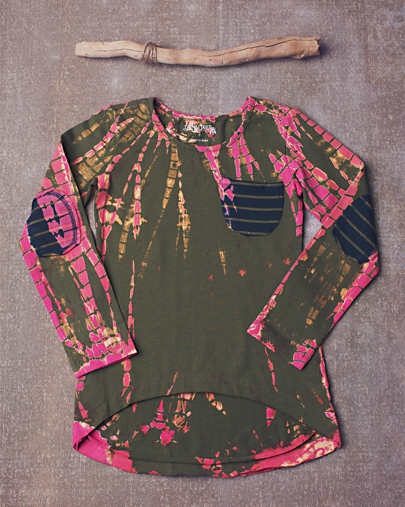 High Low Destroyed Slub Knit in Electric Pink Olive