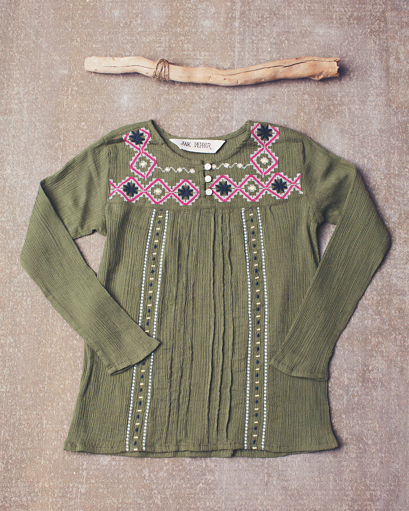 Juliet Peasant Top  in Olive