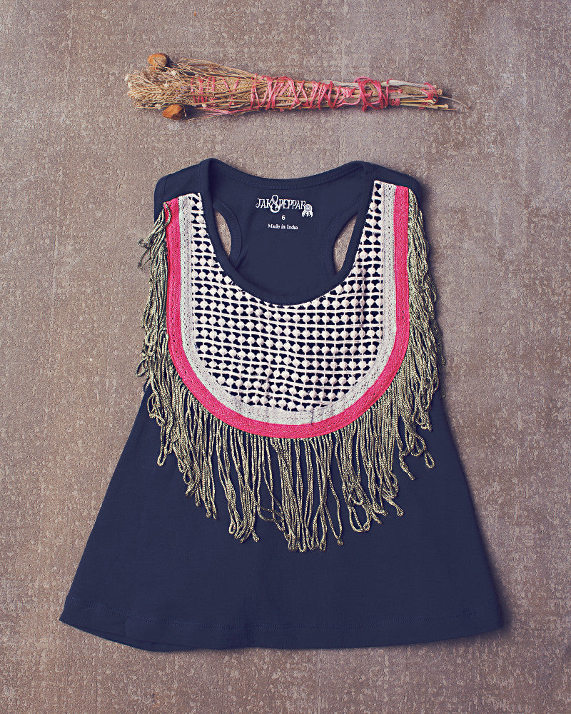 Fringe Down Crop  in Navy Bean