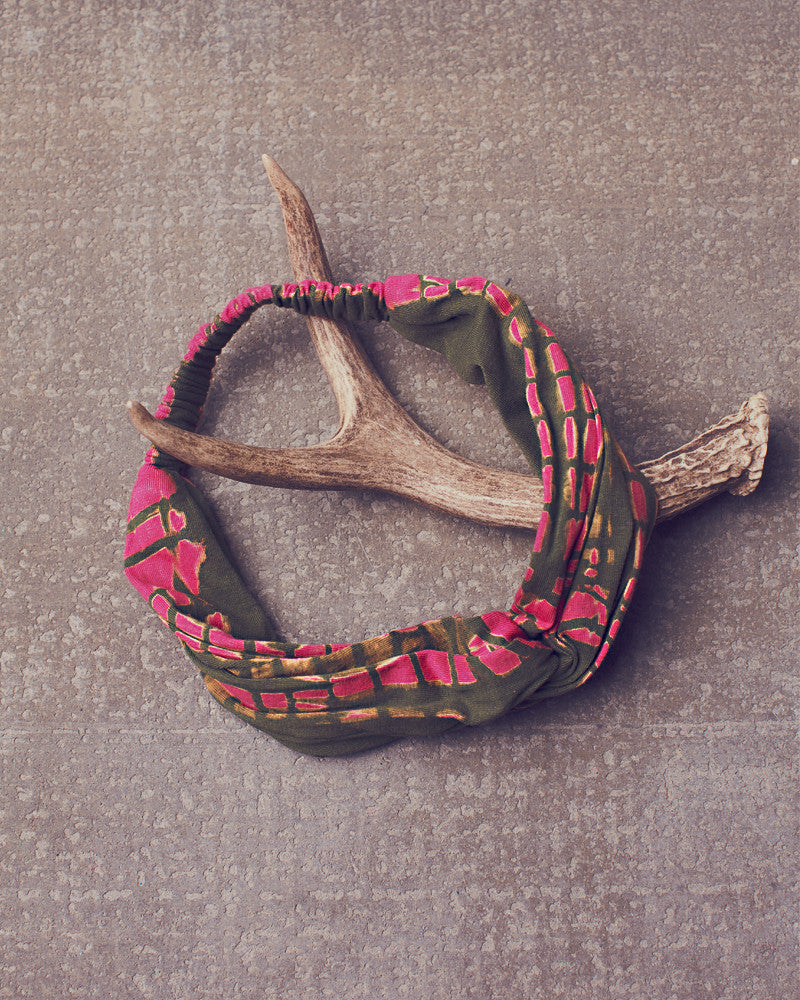 Gertrude Headwrap in Electric Pink Olive