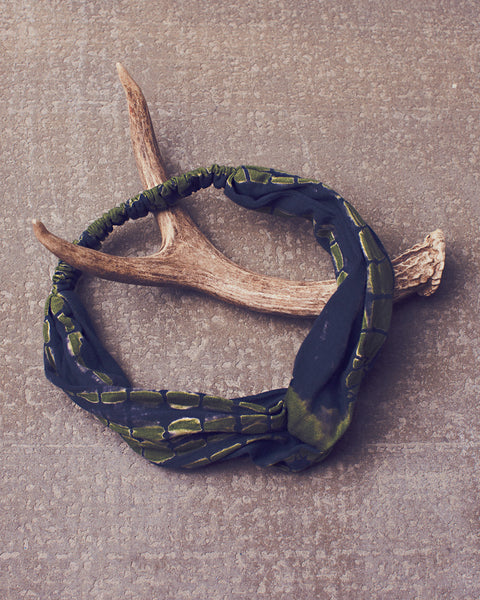 Gertrude Headwrap in Dazed Navy Olive