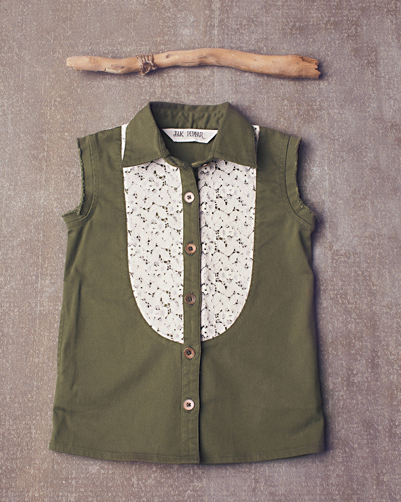 Fray For You Button Down in Olive