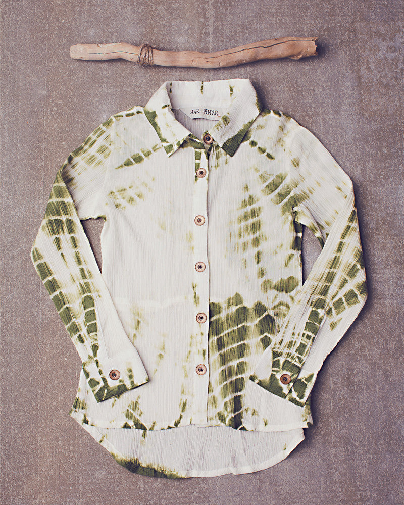 Felicity Button Down in Dazed Olive
