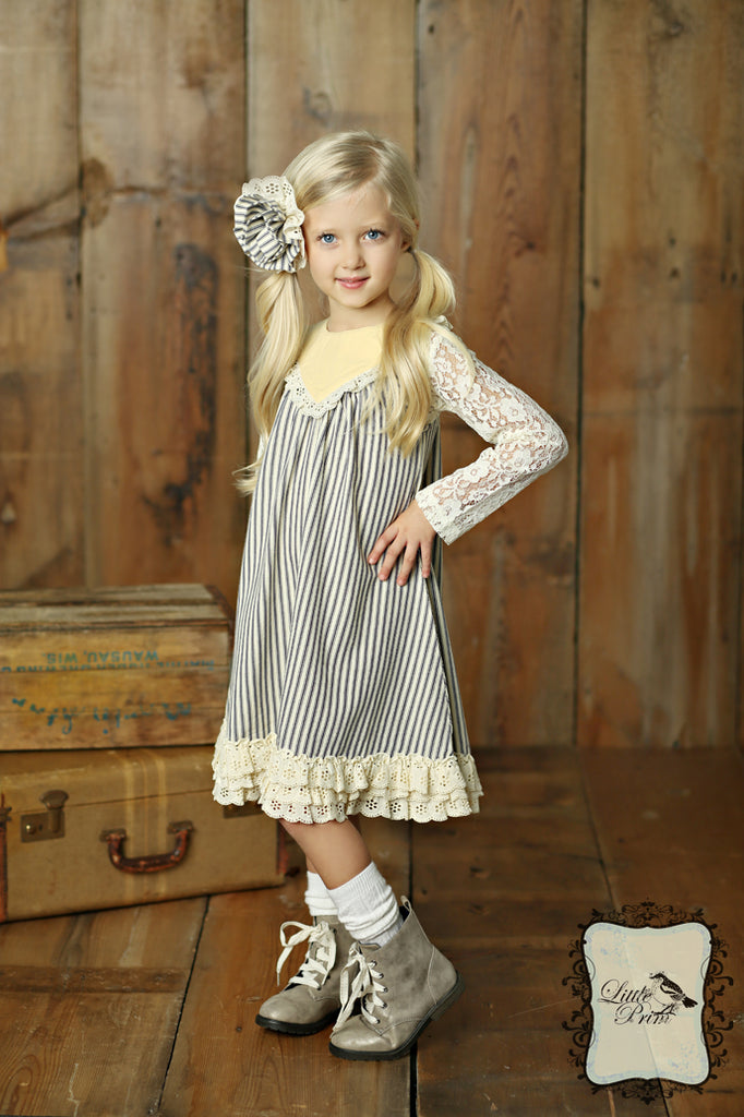 Lucy Dress in Ticking Stripe