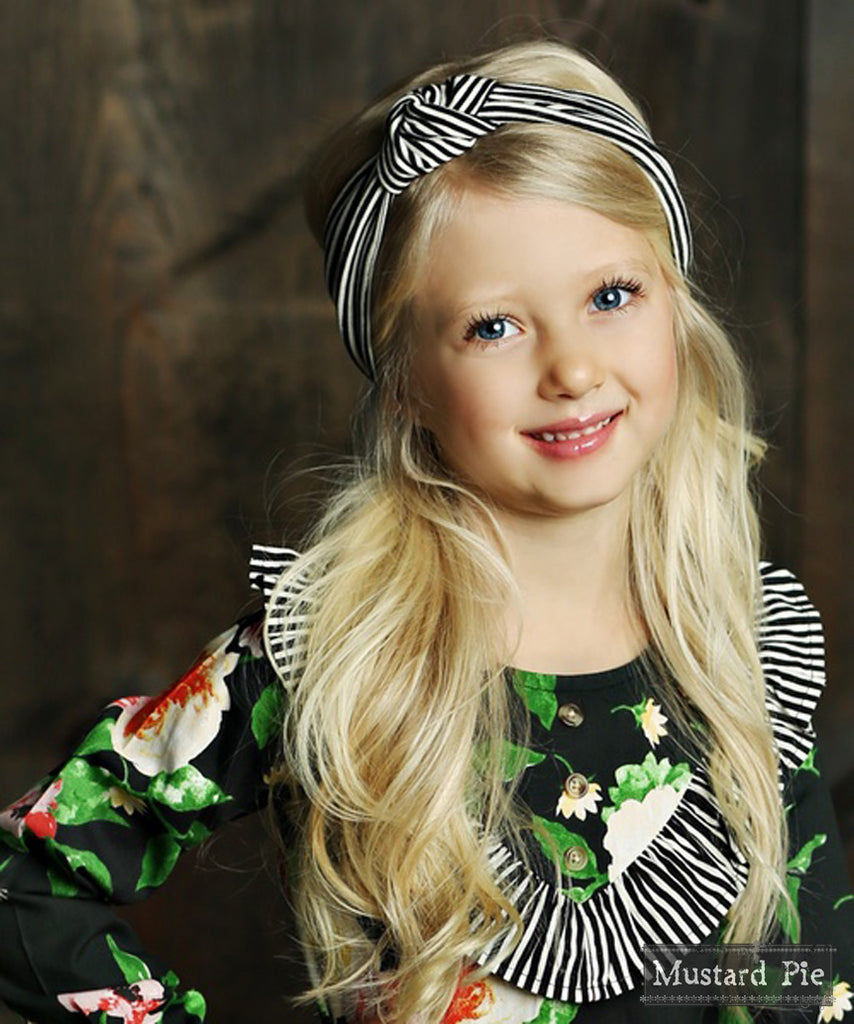 Gidget Headwrap in Black Stripe