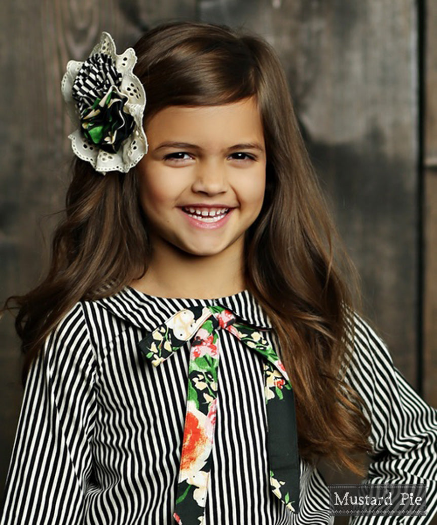 Ella Hairclip in Black Floral