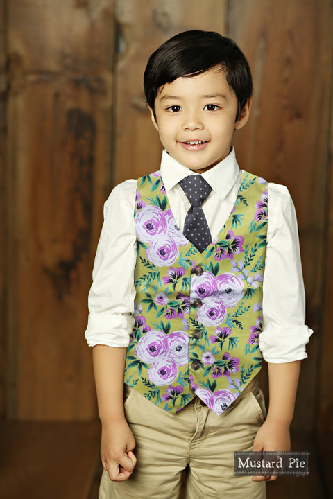Boys Reversible Vest in Yellow Floral