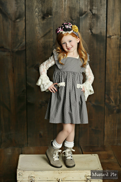 Alice Dress in Grey Dot
