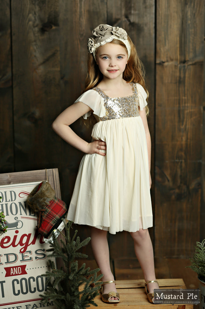 Shimmer Dress in Vanilla Shimmer