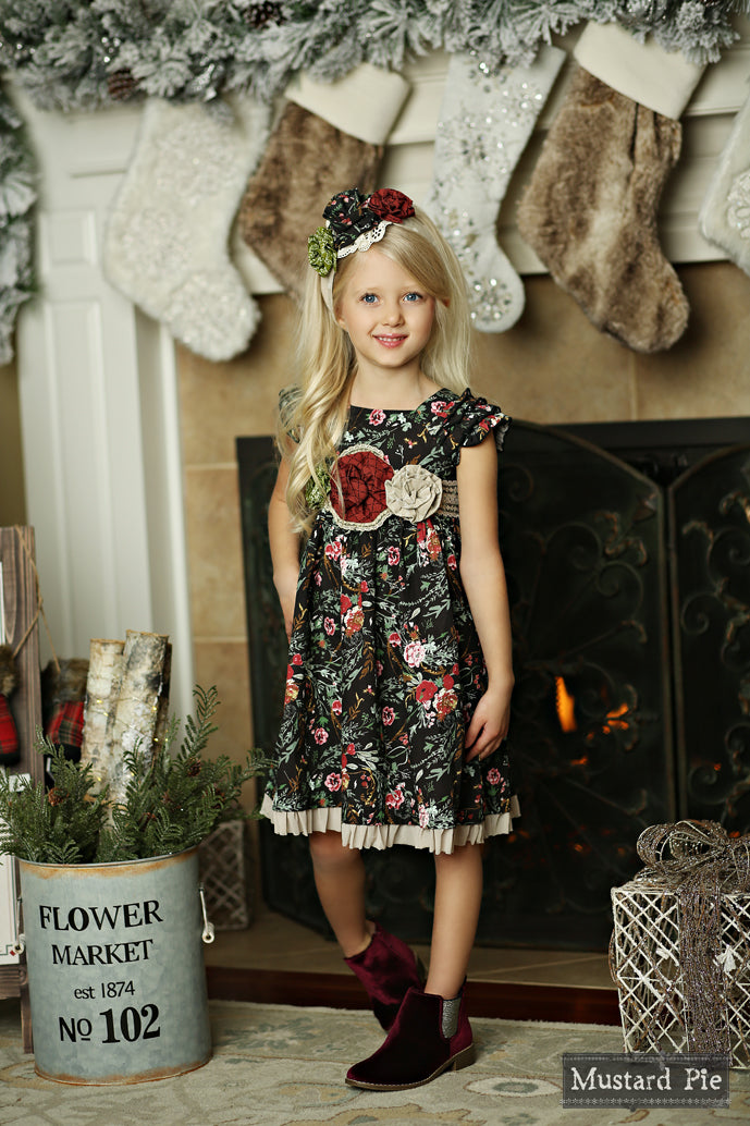 Delphine Party Dress in Winter Floral