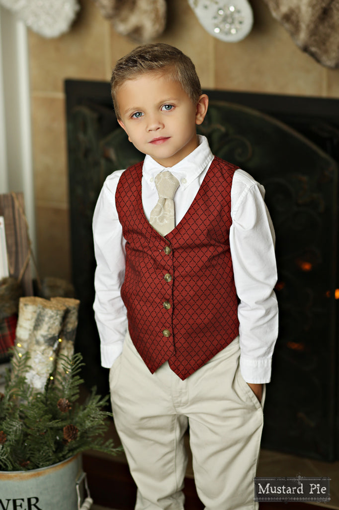 Boys Necktie in Bisque Embroidered