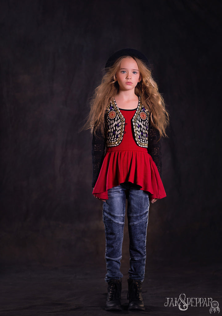 Shimmer Top in Crimson
