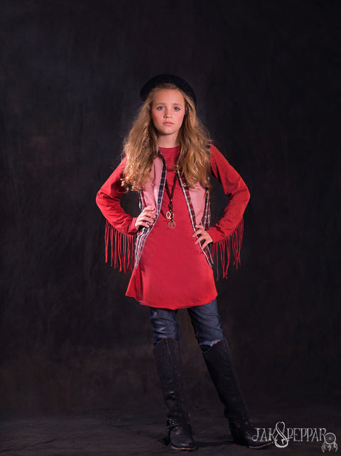 All Fringed Out Top  in Faded Crimson