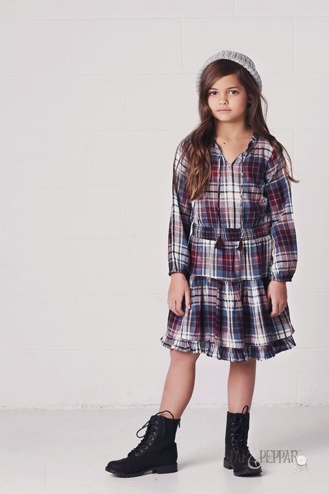 Angelique Dress in Washed Plaid