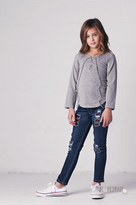 Skid Row Top in Heather Grey