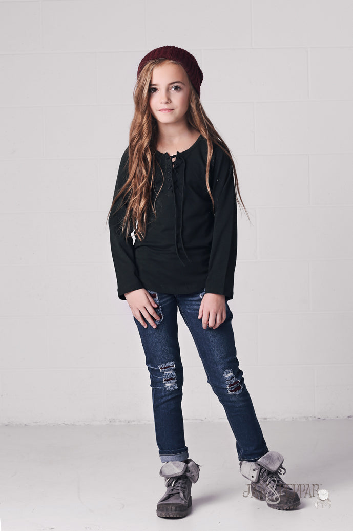 Skid Row Top in Black