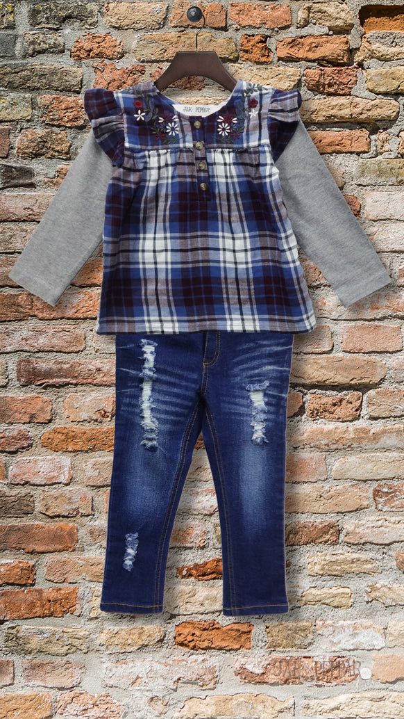 Aspen Top Set in Washed Plaid