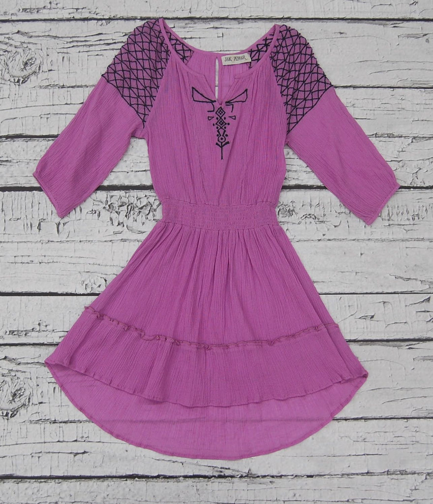 Grace Peasant Dress in Violet Haze Motif