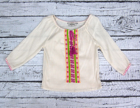 Ends Of The Earth Peasant Top in Vanilla Motif