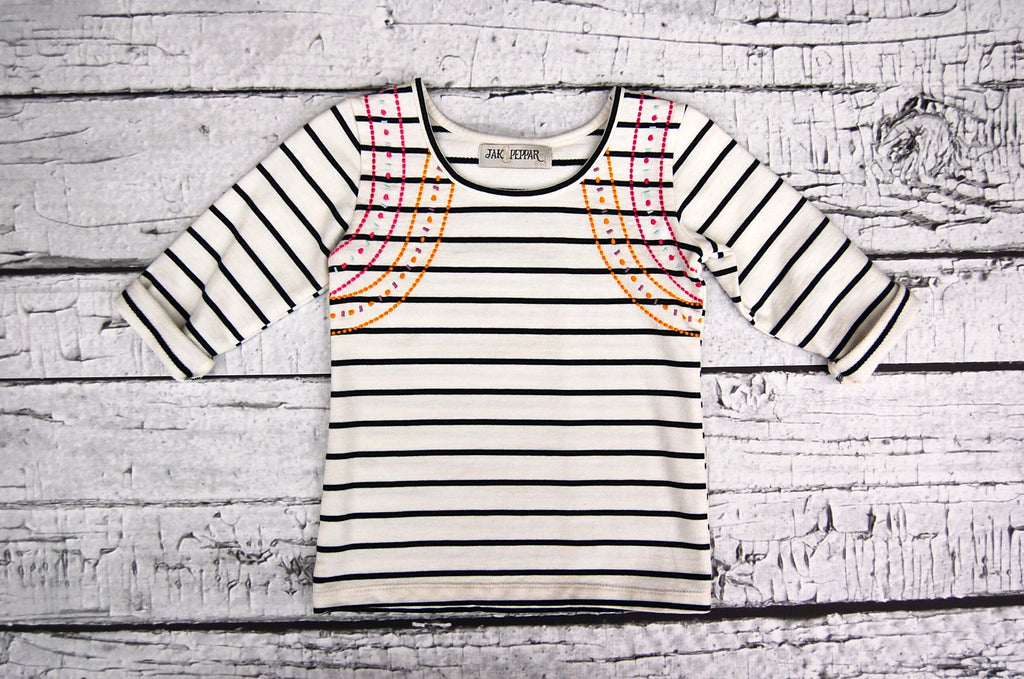 Captain My Captain Top  in Vanilla Slate Stripe